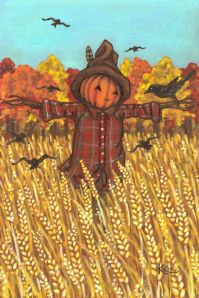 Crow perched on a scarecrow